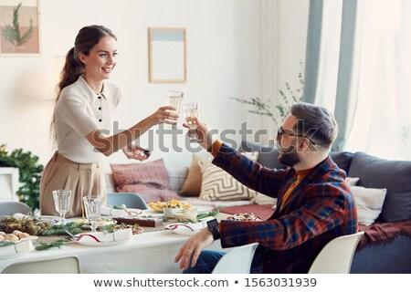 Casal smiles restaurante mesa de jantar alimentação espaguete Foto stock © dash