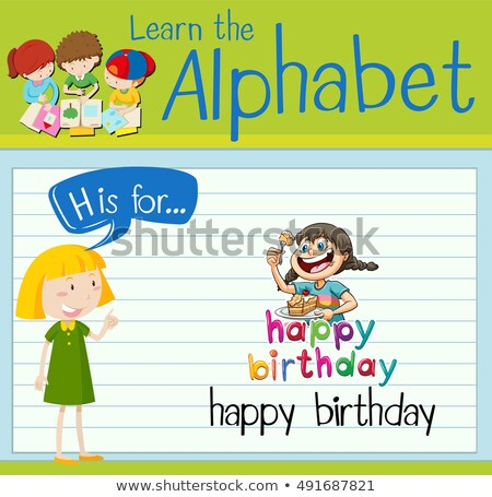 Flashcard letter H is for happy birthday Stock photo © bluering