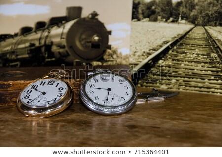 relógio · de · bolso · trem · locomotiva · cobrir · cadeia · cara - foto stock © berczy04