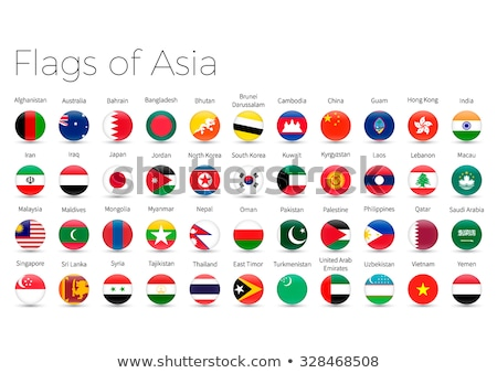 asian countries flags vector icons set stock photo © said