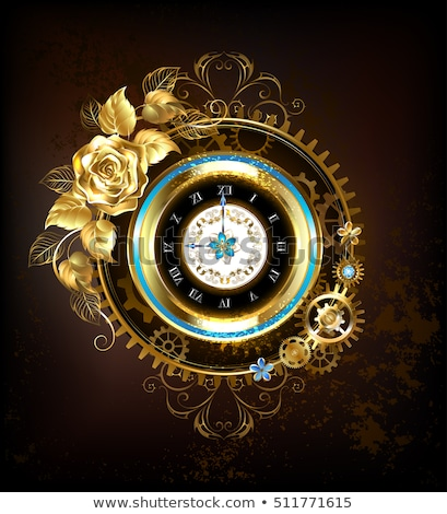 Gold clock with gold rose Stock photo © blackmoon979