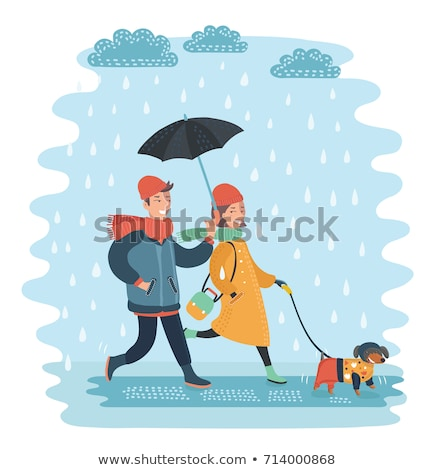 Happy beautiful young woman walking with dog in windy weather Stock photo © deandrobot
