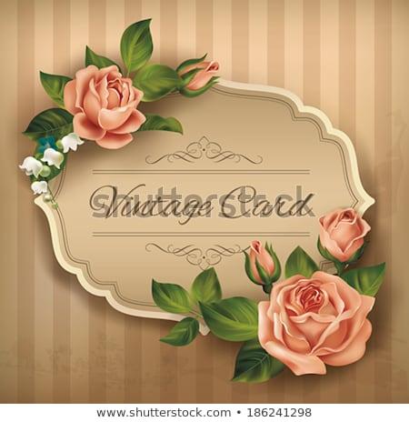 Pink flowers for border. EPS 10 Stock photo © beholdereye