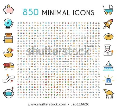 phone Flat Color icon set stock photo © bedlovskaya