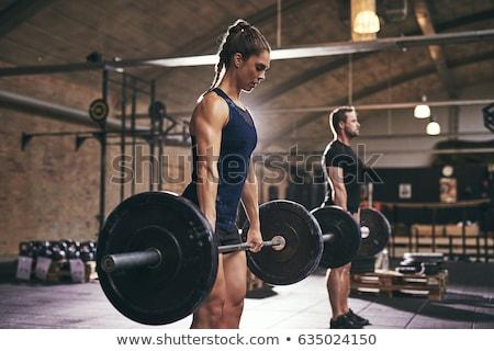sexy · bodybuilder · vrouw · torso · geïsoleerd · witte - stockfoto © nobilior