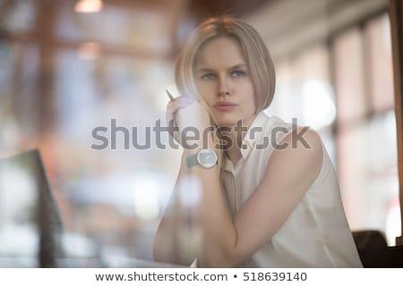 fiatal · szőke · nő · ül · álmodik · messze · bőrdzseki - stock fotó © feedough