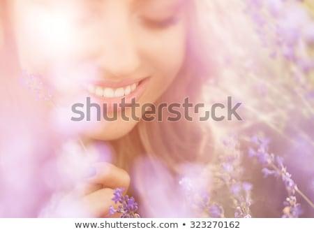 bella · nude · bruna · sorridere · fotocamera · blu - foto d'archivio © artfotodima