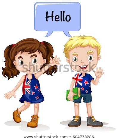 Australiano menino menina provérbio olá ilustração Foto stock © bluering