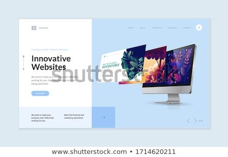Startup web design banner illustratie iconen lijn Stockfoto © Genestro