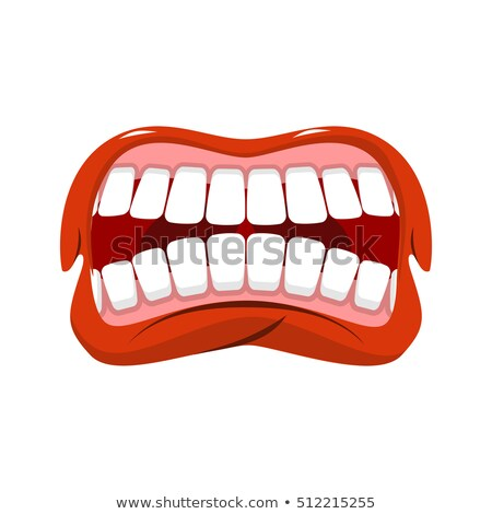 open mouth with red lips biting smile with tooth stock photo © robuart