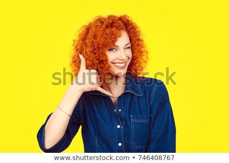 Femme d'affaires appelez-moi signe portrait jeunes Photo stock © mmarcol