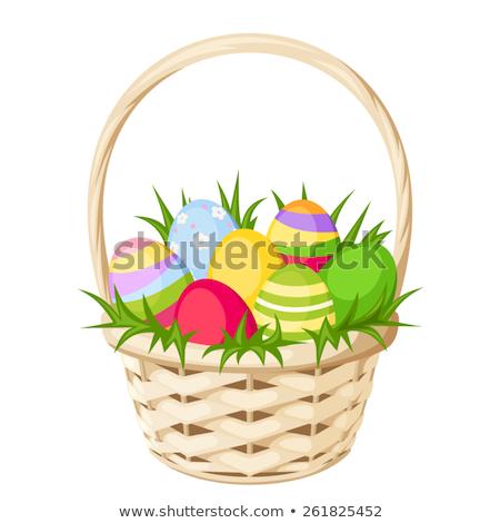 Osier panier œufs de Pâques vecteur chatte Photo stock © robuart