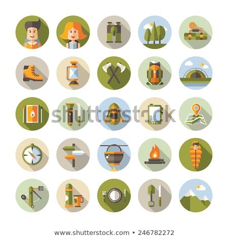 夏 観光 キャンプ ベクトル アイコン グラフィックス ストックフォト © vectorikart