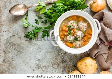 çorba köfte tablo yeşil plaka sıcak Stok fotoğraf © yelenayemchuk