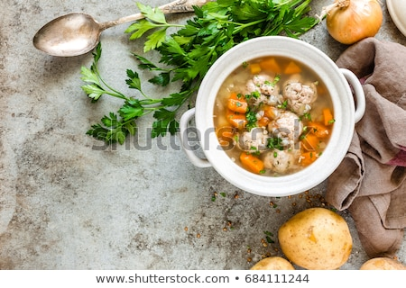 sopa · pollo · albóndigas · verduras · frescas · dietético · alimentos · saludables - foto stock © yelenayemchuk