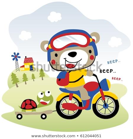 funny animal cartoon is on a motorcycle stock photo © aminmario11