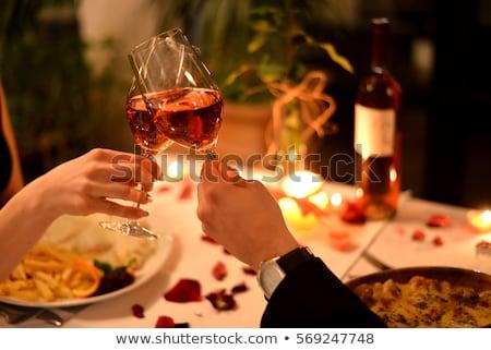 romantische · diner · kaarsen · bloemen · bloem · bruiloft - stockfoto © gsermek