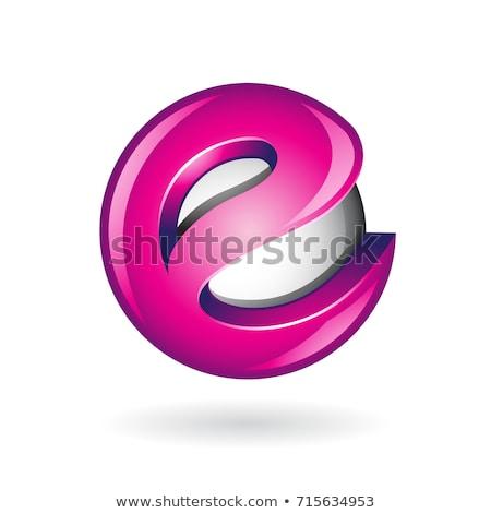 Round Glossy Letter E 3d Magenta Logo Icon Stock photo © cidepix
