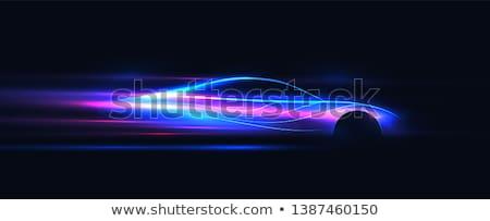 Carreras deportes coches silueta iconos estilo retro Foto stock © Olena