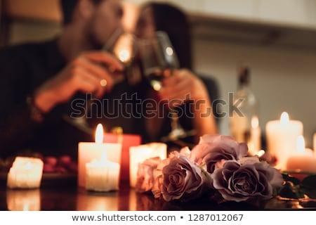 Stockfoto: Paar · romantische · diner · liefde · samen