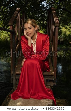 женщину · красное · платье · босиком · изолированный · белый · Sexy - Сток-фото © pilgrimego