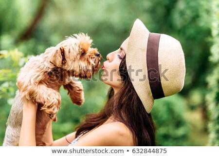 Two beautiful women with small dog Stock photo © Pilgrimego
