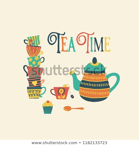 Cup of Tea and Cake Vintage Retro Style Stock photo © Krisdog