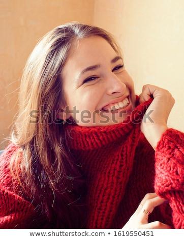 kırmızı · kadın · şık · oda · yüz · seksi - stok fotoğraf © iordani