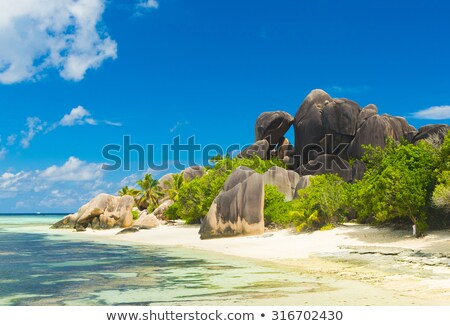 view from island to indian ocean on seychelles Stock photo © dolgachov