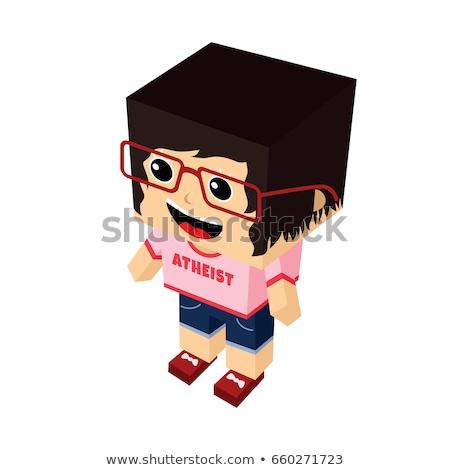 Kız karikatür maskot dini cehalet kampanya vektör Stok fotoğraf © vector1st