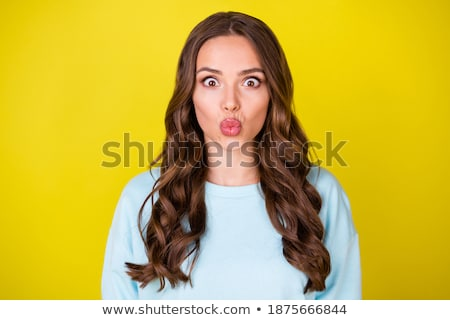 Soprar me beijo belo mulher jovem Foto stock © hsfelix
