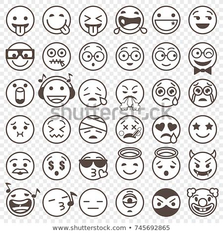 black and white monster cartoon emoji character scaring stock photo © hittoon