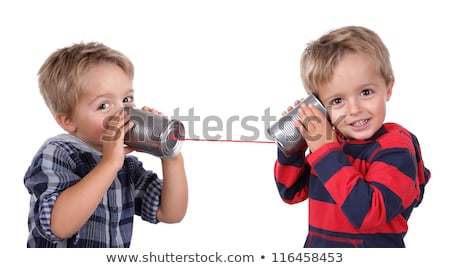 Children using tin can phone Stock photo © IS2