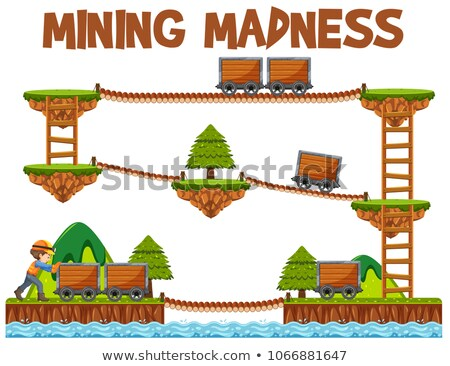Kaland bányászat őrület játék sablon illusztráció Stock fotó © bluering