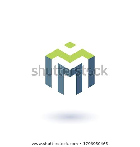 Stock fotó: Absztrakt · mértani · m · betű · logo · sablon · alkotóelem