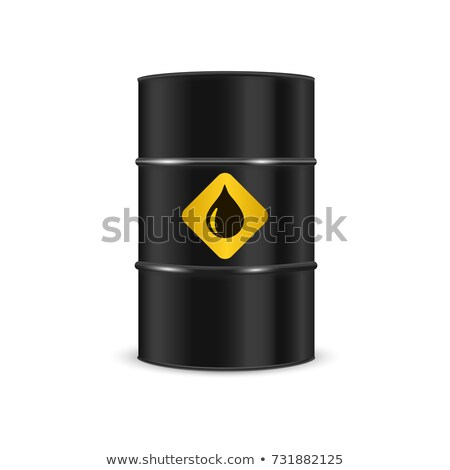Barrel of oil on a white background. Black steel barrel. Vector  Stock photo © popaukropa