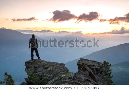 Stok fotoğraf: Genç · ayakta · uçurum · mavi · gökyüzü · İngiltere · açık · havada