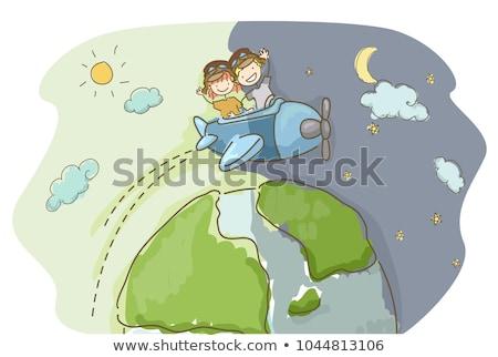 Gyerek lány utazás bot illusztráció baseballsapka Stock fotó © lenm