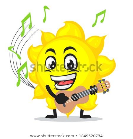Kabala naplemente gitár dal színes illusztráció Stock fotó © lenm