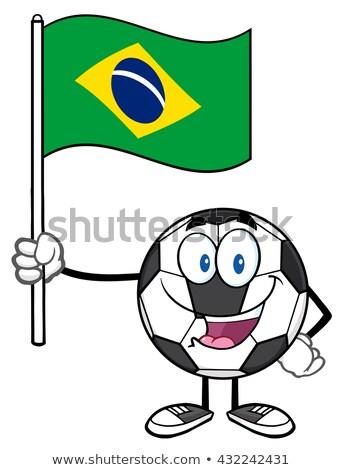 Szczęśliwy piłka maskotka cartoon charakter banderą Zdjęcia stock © hittoon