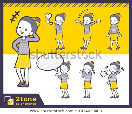 2tone type Polka dot clothes ribbon girl_set 03 Stock photo © toyotoyo