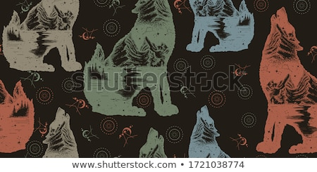 wolf pattern seamless forest predator beast background vector stock photo © maryvalery