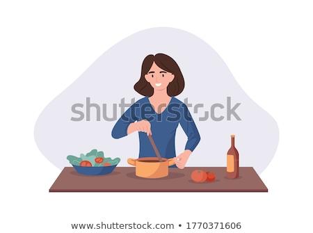 Schoolgirl White cooking Stock photo © toyotoyo