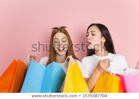 Zdjęcia stock: Dwa · dziewcząt · radosny · prezenty · pop · art · retro