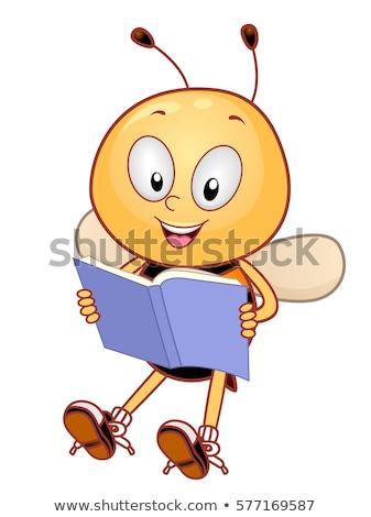 Bee mascotte verhalenboek illustratie cute weinig Stockfoto © lenm