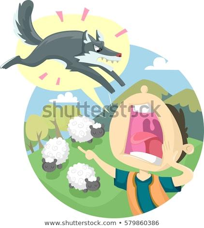 Menino lobo ilustração clássico Foto stock © lenm
