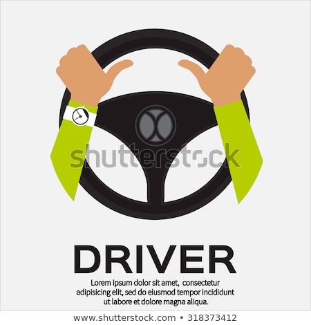 Cartoon homme conduite voiture signe Photo stock © bennerdesign