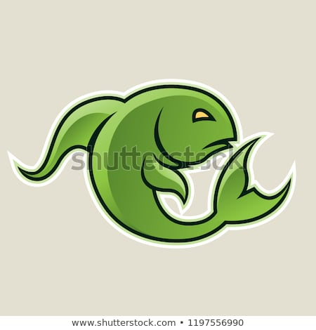 Green Curvy Fish or Pisces Icon Vector Illustration Stock photo © cidepix