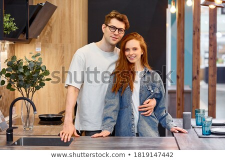 Foto stock: Retrato · belo · feliz · casal · homem · mulher