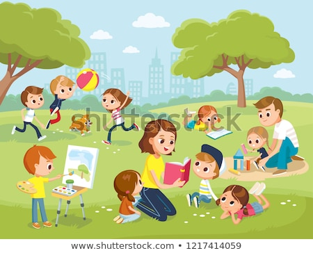 happy kids playground scene stock photo © bluering